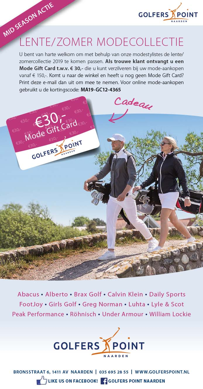 Golfers_Point_Mode Giftcard DM mailing BAS! RECLAME & VORMGEVING